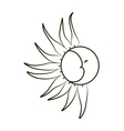 Sketch of the moon and sun on a white background