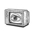 tv eye on screen sketch vector image vector image