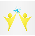 Two people reach the goal vector image