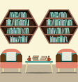 Two Sofas With Hexagon Bookshelves vector image vector image