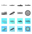 war and ship sign set of vector image