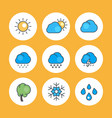 weather icons with outline vector image
