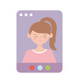 website young woman meeting online isolated icon vector image vector image