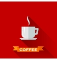 with coffee cup icon in flat design style with vector image vector image