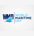 wmd - world maritime day flat style vector image vector image