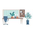 workplace at home or office table and laptop vector image vector image
