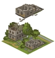 Several destroyed buildings and trees city vector image