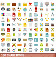 100 chart icons set flat style vector image vector image