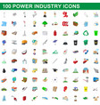 100 power industry icons set cartoon style vector image vector image