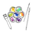 art palette with paints vector image vector image