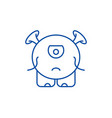 baby monster line icon concept baby monster flat vector image vector image