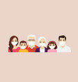 big family portrait in protactive masks vector image