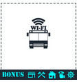 bus wi-fi icon flat vector image