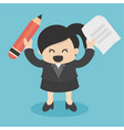business woman holding pencil and paper vector image vector image
