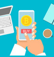 business woman holding smartphone with bitcoin vector image vector image