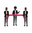 businessman awarding ceremony with red ribbon vector image