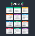 calendar for 2020 on dark background vector image