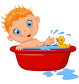 Cartoon baby in a bubble bath splashing water vector image