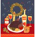christmas dinner dish celebration card flat vector image