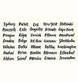 city names hand written brush calligraphy big set vector image