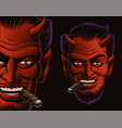 coloured a devil face smoking a cigar vector image