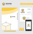 cube business logo file cover visiting card and vector image