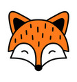cute sleeping fox isolated black outline vector image vector image
