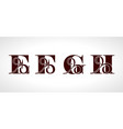decorative capital letters f e g h for your vector image vector image
