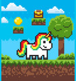 fairytale pixel game unicorn superhero vector image vector image