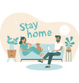 family working from home self quarantine concept vector image