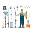 fisherman with fish near pole rod hook tackle vector image