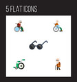 flat icon cripple set of handicapped man vector image vector image