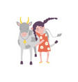 flat teen girl hugging cow domestic pet vector image