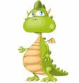 funny cartoon smiling dragon with big blue eyes vector image vector image
