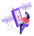 girl listening to music with player sound wave vector image