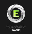 green letter e logo symbol in the silver circle vector image vector image