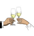 hands holding glasses champagne vector image