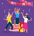 happy birthday women with cake pile gifts drink vector image vector image
