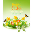 holiday easter background with a colorful eggs vector image