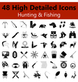 Hunting and Fishing Smooth Icons vector image