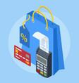 isometric online shopping banner mobile app vector image