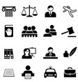 justice legal law and lawyer icon set vector image
