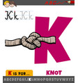letter k from alphabet with cartoon knot vector image