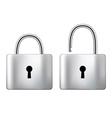 Locked and unlocked Padlock steel isolated on vector image