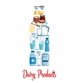 Milk bottle of dairy products vector image vector image