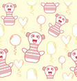pattern with pastel doodle characters and balloons vector image