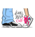 pop art man woman sneakers kiss love cute vector image