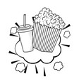 pop corn and soda black and white vector image