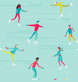 printwinter seamless pattern with ice-skating vector image