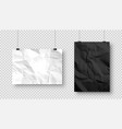 realistic blank hanging paper sheets in a4 size vector image vector image